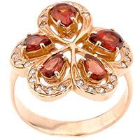 Золотое кольцо в виде цветка с гранатом, фото