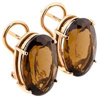 Золотые серьги с Бренди топазом овальной формы, фото