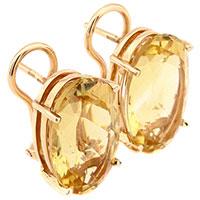 Серьги из красного золота с цитрином овальной формы, фото