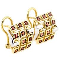 Золотые серьги с камнями в кластерной оправе, фото