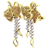 Золотые серьги с желтым сапфиром и бриллиантами, фото
