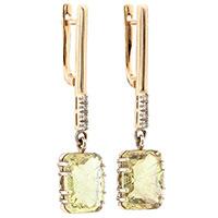 Серьги-подвески с топазом и бриллиантом из золота, фото