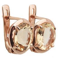 Золотые серьги с цитрином круглой формы, фото