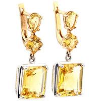 Золотые серьги-подвески с желтым цитрином, фото