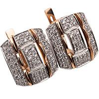 Серьги из красного золота с бриллиантовой россыпью, фото