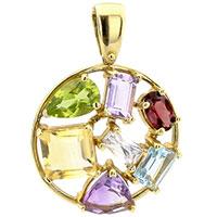 Круглый кулон с разноцветными камнями из золота, фото