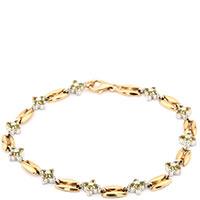 Золотой браслет с желтым цитрином и хризолитом, фото
