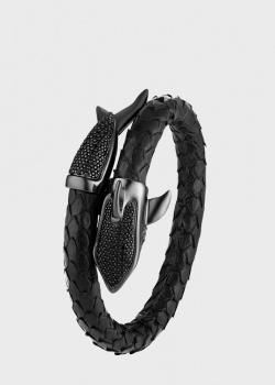 Черный браслет Poche Shark из кожи, фото