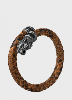 Кожаный браслет Poche Tiger с циркониями, фото