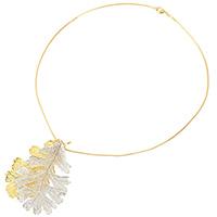 Кулон Ester Bijoux Filigree Lacey из листков дуба в золоте и серебре, фото