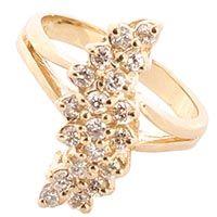 Колечко с бриллиантами в желтом золоте, фото