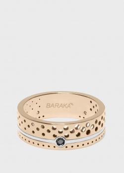 Золотое кольцо Baraka Texture с черным бриллиантом, фото