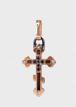 Крест из золота Baraka Prive с черными бриллиантами, фото