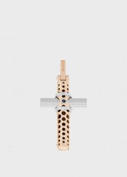 Крестик Baraka  из розового и белого золота, фото