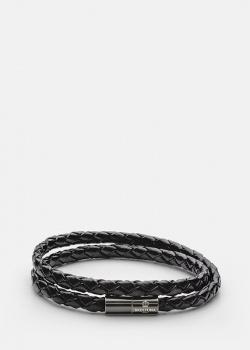 Черный браслет Skultuna Stealth из плетеной кожи, фото