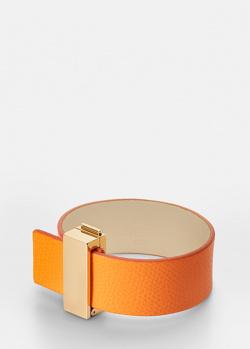Кожаный браслет Skultuna Clasp Rivets оранжевого цвета, фото