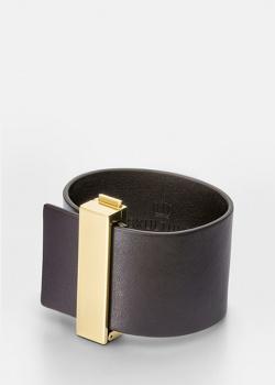 Кожаный браслет Skultuna Clasp Rivets темно-коричневого цвета, фото