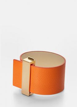 Браслет с позолотой Skultuna Clasp Rivets из оранжевой кожи, фото