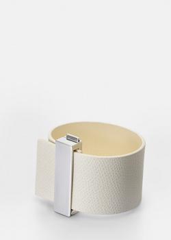 Белый браслет Skultuna Clasp Rivets из кожи и стали, фото