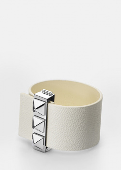 Белый браслет Skultuna Clasp Rivets из зернистой кожи, фото