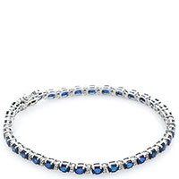 Золотой браслет Оникс с бриллиантами и сапфирами, фото
