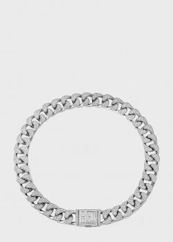Серебряное ожерелье Poche Chain Reaction White Queen с циркониями бриллиантовой огранки, фото