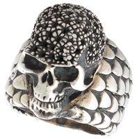 Серебряный перстень ElfCraft с чешуйками и черепом, фото