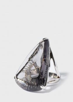Крупное кольцо Lalique Ice Light с насечками на камне, фото