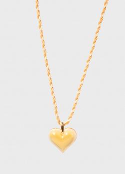 Маленький кулон-сердце на нити Lalique Amoureuse янтарного цвета, фото