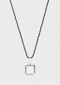 Квадратная подвеска Lalique Arethuse Masque de Femme на шелковой нити, фото