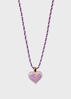 Колье с сердцем Lalique Amoureuse Beaucoup из фиолетового хрусталя, фото