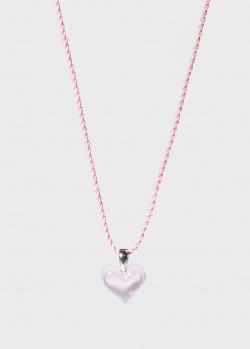 Розовое сердце на шнурке Lalique Amoureuse Beaucoup, фото