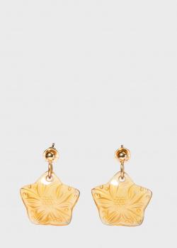 Позолоченные пусеты Lalique Carambole с хрусталем, фото