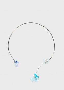 Ожерелье из серебра Lalique Crystal Papillon с хрустальными бабочками, фото
