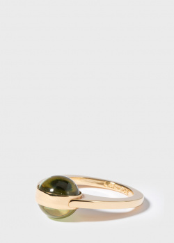 Позолоченное кольцо Lalique Oxygen с зеленым хрусталем, фото