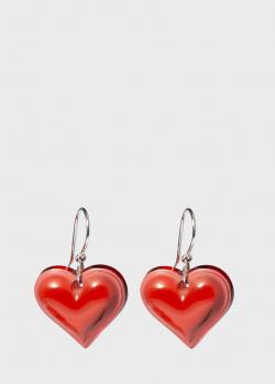 Красные серьги Lalique Coeur Heart с хрустальными сердцами, фото