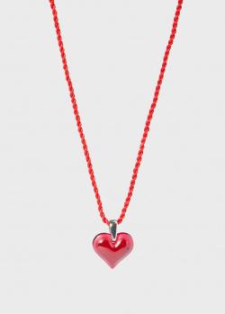Шелковая нить с подвеской Lalique Amoureuse Beaucoup в виде красного сердца, фото