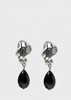 Серебряные серьги Lalique Tourbillons с черной эмалью, фото