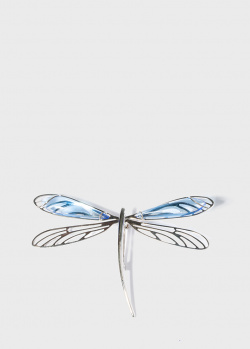 Серебряная брошь Lalique Libellule Стрекоза с хрусталем, фото