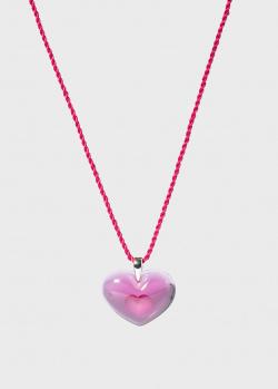 Колье с малиновым сердцем Lalique Amoureuse A La Folie Tendreheart, фото