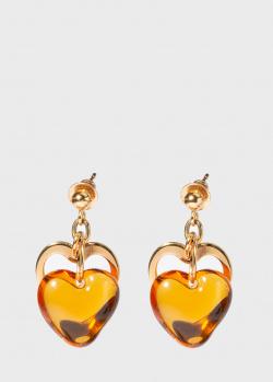 Серьги с сердцами Lalique Amoureuse из серебра в позолоте, фото