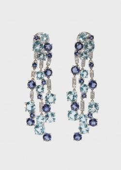 Золотые серьги Zarina by Roman Bayand в бриллиантах и кордиеритах, фото