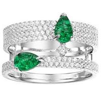 Двойное кольцо APM Monaco Glamour с зеленым цирконием, фото