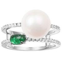 Двойное кольцо APM Monaco Glamour с жемчугом и зеленым цирконием, фото
