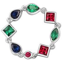 Серебряное кольцо APM Monaco Glamour с разноцветными камнями из циркония, фото