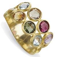 Широкое кольцо Marco Bicego Jaipur с цветными камнями в два ряда, фото
