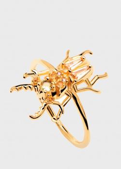 Позолоченное кольцо P D Paola House Of Beetles Courage Beetle, фото