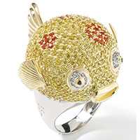 Перстень Misis Reef Party в виде рыбки с фианитами, фото