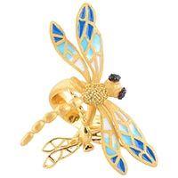 Позолоченное кольцо Misis с голубой стрекозой, фото