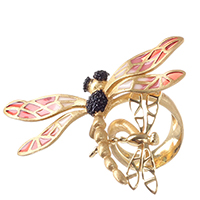 Кольцо Misis Lillybeth со стрекозой красного цвета, фото